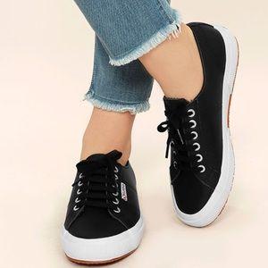 SUPERGA   2750 black leather sneakers